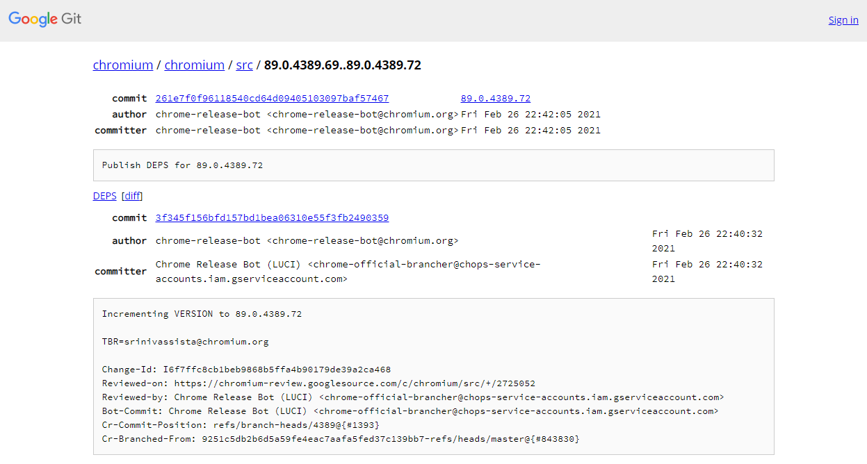 Chromiumのチャンネル間の更新差分を表示している画面