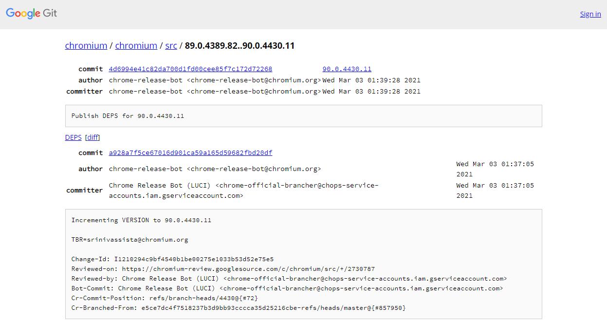 Chromiumのstableチャンネルとdevチャンネルの差分を表示している画面